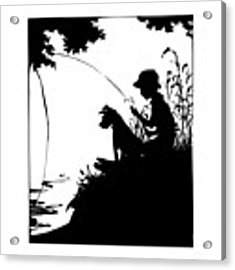 Silhouette Of A Boy Fishing With His Dog Acrylic Print by Rose Santuci-Sofranko