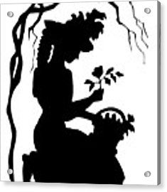 Silhouette Woman Picking Roses Acrylic Print by Rose Santuci-Sofranko