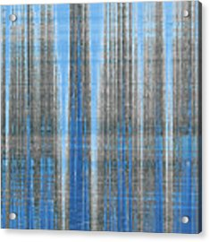 Silver Blue Plaid Abstract #4 Acrylic Print by Patti Deters