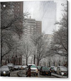 Snow In The City Acrylic Print by Alison Frank