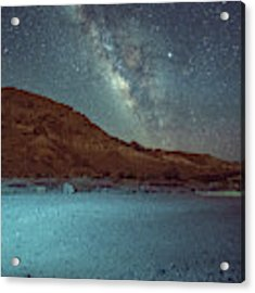 Starry Night At Ramon Crater 1 Acrylic Print by Dubi Roman
