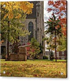 Stone Chapel Autumn Acrylic Print by Allin Sorenson