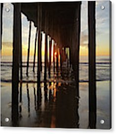 Sunrise At The Oc Fishing Pier Acrylic Print by Robert Banach
