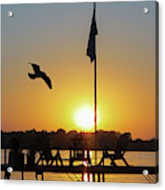 Sunset Dock Flag Silhouette Acrylic Print by Patti Deters