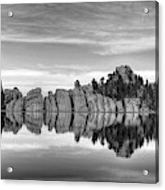 Sylvan Lake Reflections Black And White Acrylic Print by Mel Steinhauer