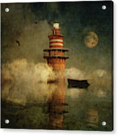 The Lonely Lighthouse In The Fog With Full Moon Acrylic Print by Jan Keteleer