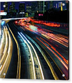 The Long Road To Dallas - Dallas Skyline - Tom Landry Freeway Acrylic Print by Jason Politte