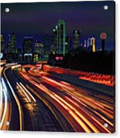 The Road To Dallas - Dallas Skyline - Tom Landry Freeway Acrylic Print by Jason Politte