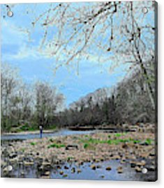 Trout Fishing In America Acrylic Print by William Jobes