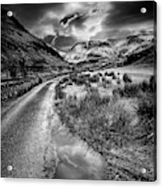 Valley Sunset Snowdonia Bw Acrylic Print by Adrian Evans