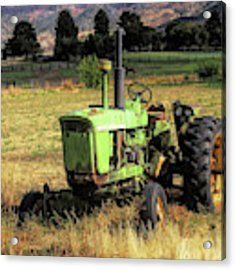 Vintage Tractor In Honeyville Acrylic Print by David King