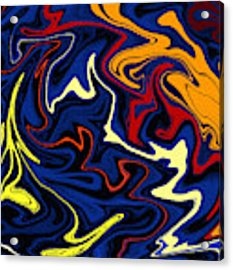 Warped Wet Paint Abstract In Comic Book Colors Acrylic Print by Shelli Fitzpatrick