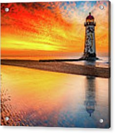 Welsh Lighthouse Sunset Acrylic Print by Adrian Evans