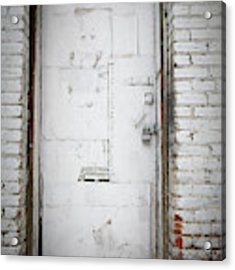 White Steel Factory Door Chinatown Washington Dc Acrylic Print by Edward Fielding