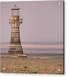 Whiteford Point Lighthouse In Pink Acrylic Print by Elliott Coleman