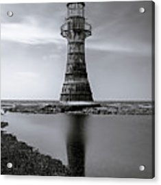 Whiteford Point Lighthouse Reflections Acrylic Print by Elliott Coleman