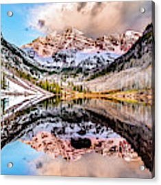 Wide Angle Maroon Bells Panoramic Landscape Acrylic Print by Gregory Ballos