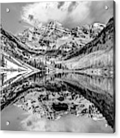 Wide Angle Maroon Bells Panoramic Landscape - Monochrome Acrylic Print by Gregory Ballos