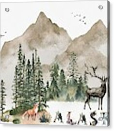 Wild Alaska Travel Poster Acrylic Print by Celestial Images