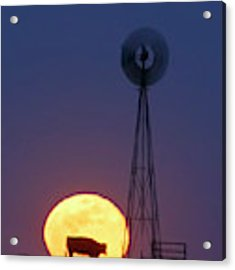 Windmill And Moon 01 Acrylic Print by Rob Graham