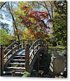 Wooden Bridge In Japanese Garden Acrylic Print by Jemmy Archer