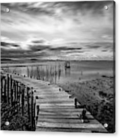 Wooden Fishing Piers Acrylic Print by Michalakis Ppalis
