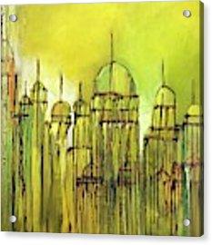 Yellow Mosque  Acrylic Print by Nizar MacNojia
