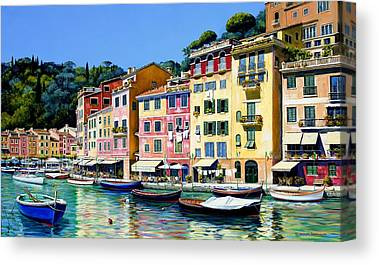 Portofino Cafe Canvas Prints