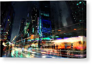 City Mixed Media Canvas Prints
