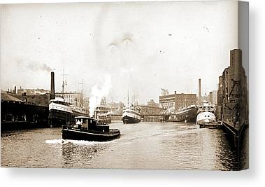 Chicago River Drawings Canvas Prints