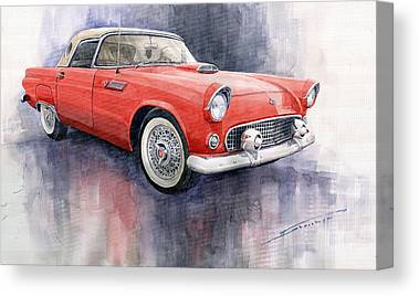 Old Car Paintings Canvas Prints