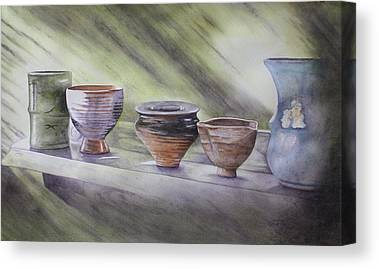 Hand Thrown Pottery Paintings Canvas Prints