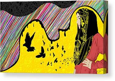 Hijab Fashion Abstraction De Dina Canvas Prints