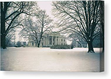 Historic Snowy Mansion Canvas Prints