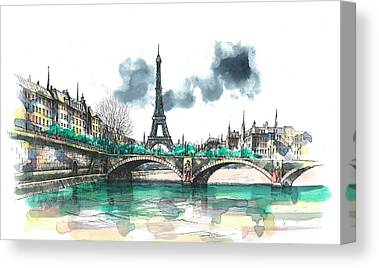 Eiffel Tower Paintings Canvas Prints