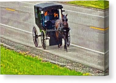 Amish Family Mixed Media Canvas Prints