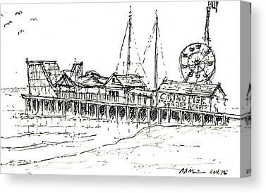Casino Pier Drawings Canvas Prints