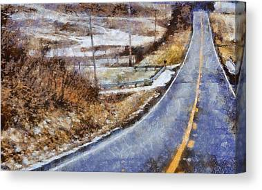 Winter Roads Mixed Media Canvas Prints