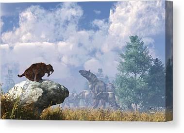 Rhinocerus Digital Art Canvas Prints