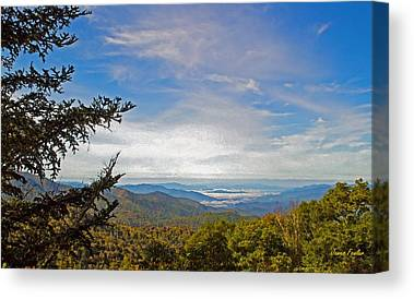 Smokey Mountain Drive Digital Art Canvas Prints