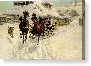 Dog Trots Paintings Canvas Prints