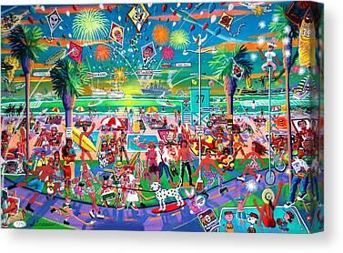 Fireworks. Kites Canvas Prints
