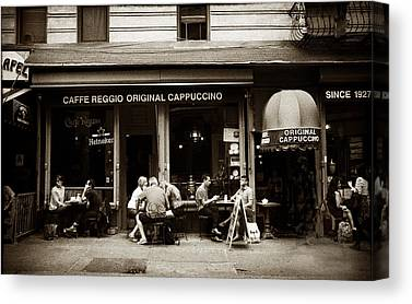 New York City Cafe Street Scene Canvas Prints