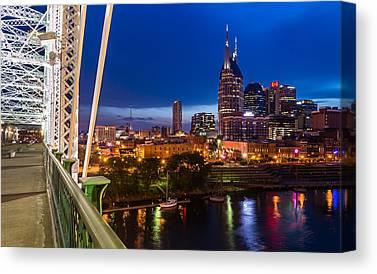 Downtown Nashville Digital Art Canvas Prints