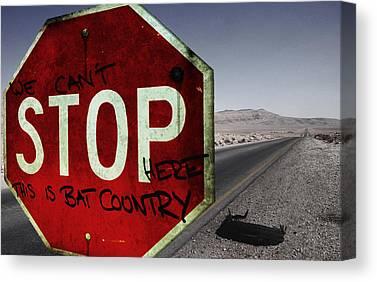 Stop Sign Digital Art Canvas Prints
