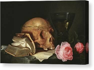 Skull In Rose Canvas Prints