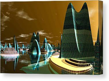 Cities Of The Future In The Year 2498 Canvas Prints