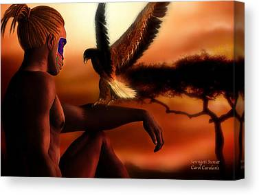 African Mixed Media Canvas Prints