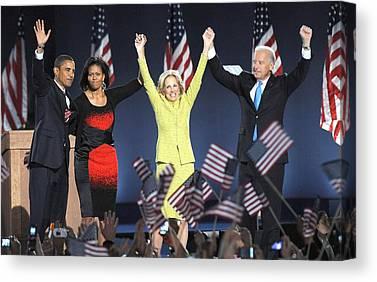 Barack Obama U.s. Presidential Election Victory Speech And Celebration Canvas Prints