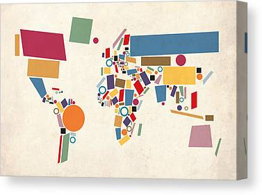 Abstract Map Canvas Prints
